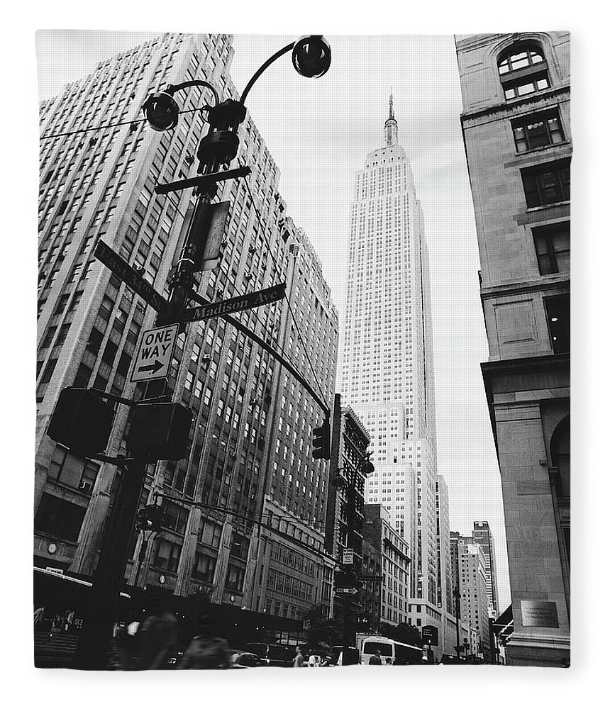 Outdoors Fleece Blanket featuring the photograph View Of The Empire State Building, New by Martin Child