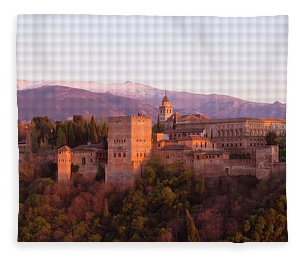 Scenics Fleece Blanket featuring the photograph View To The Alhambra At Sunset by David C Tomlinson
