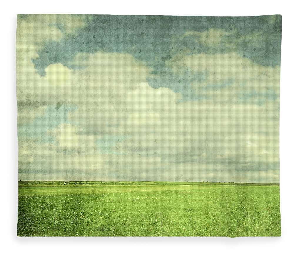 Scenics Fleece Blanket featuring the photograph Vintage Image Of Green Field And Blue by Jasmina007