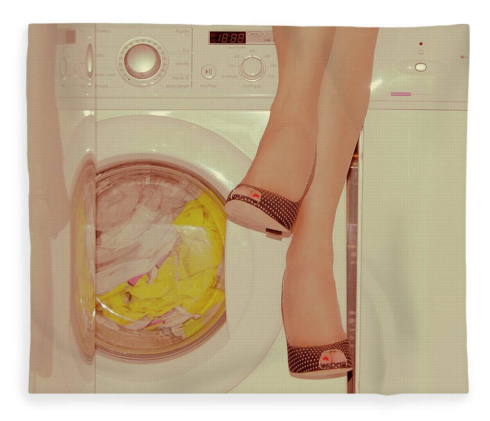 Laundromat Fleece Blanket featuring the photograph Vintage Laundry by © Angie Ravelo Photography