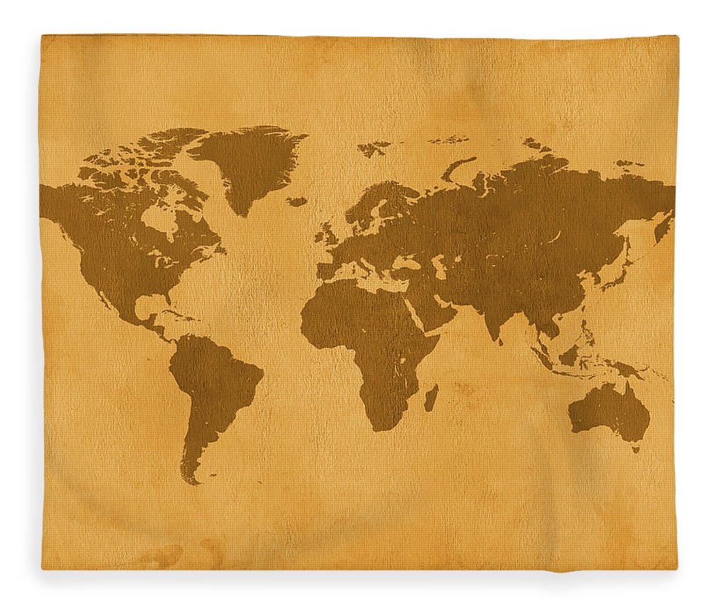Material Fleece Blanket featuring the photograph Vintage Map Of The World In Brown by Yorkfoto