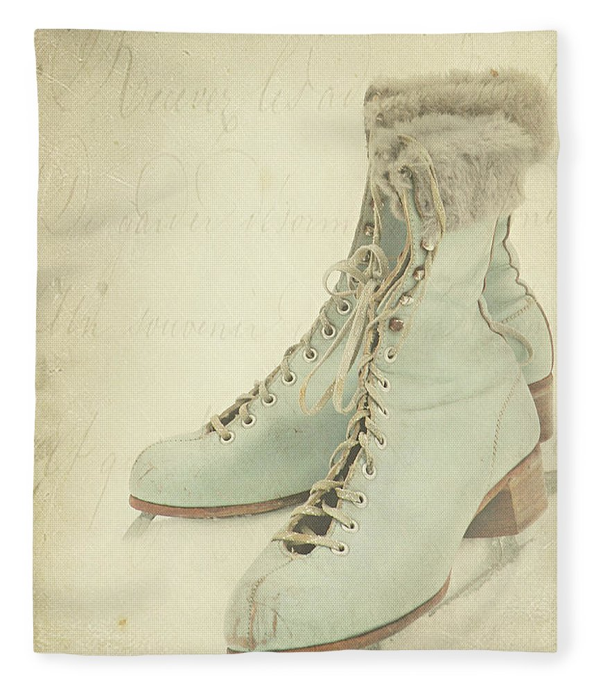 Snow Fleece Blanket featuring the photograph Vintage Teal Skates by My Vintage Gardens Photography