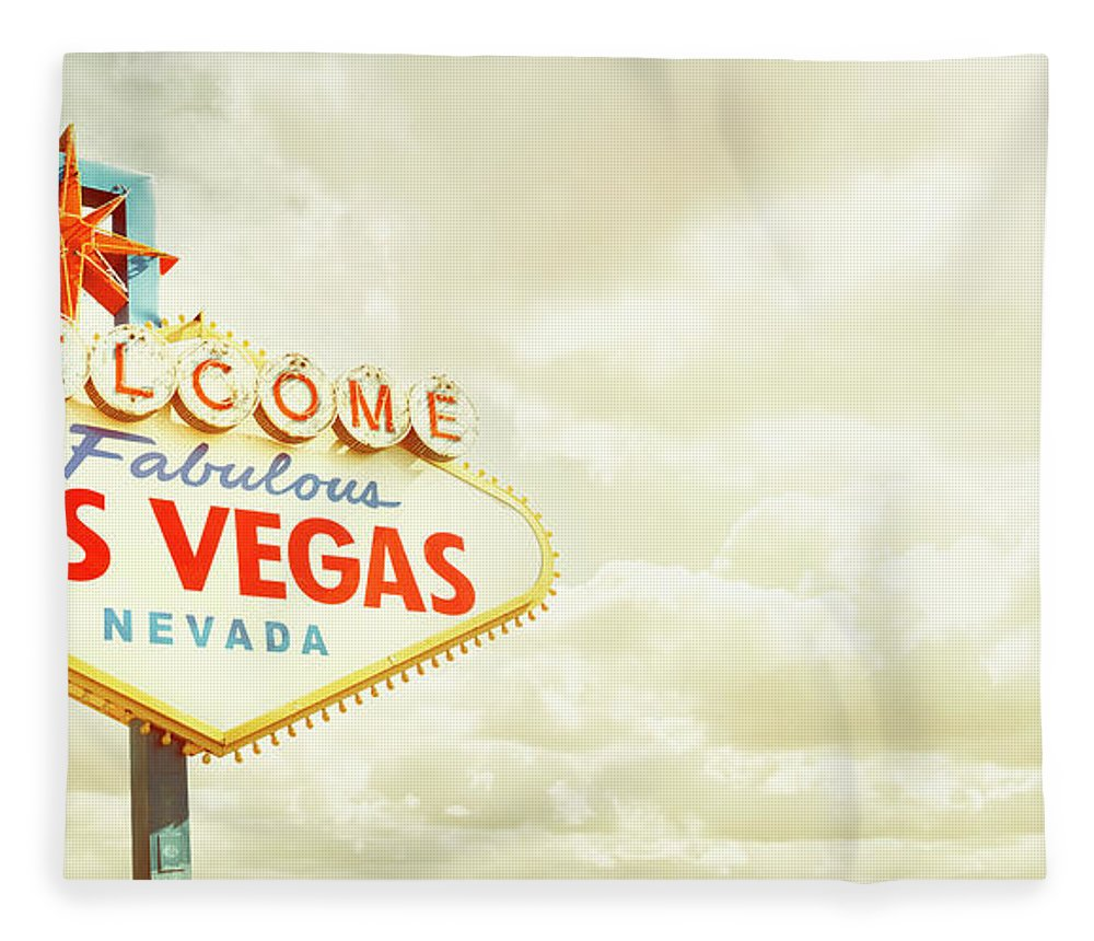 Panoramic Fleece Blanket featuring the photograph Vintage Welcome To Fabulous Las Vegas by Powerofforever