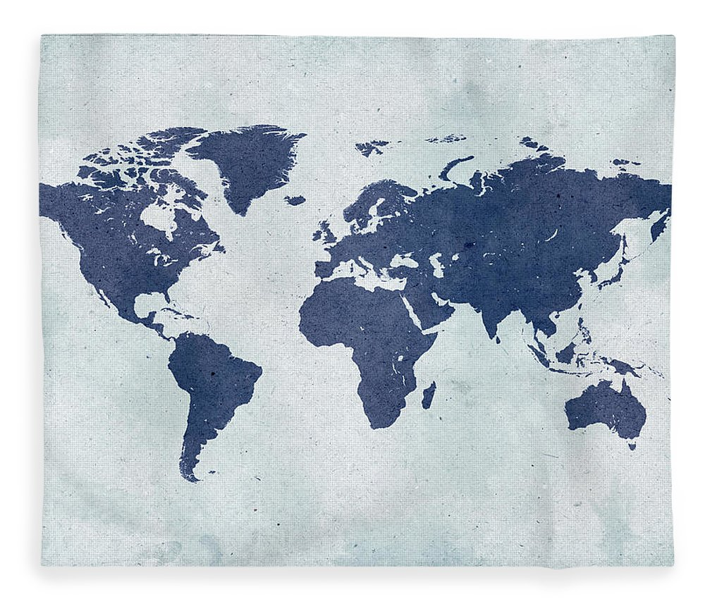 Material Fleece Blanket featuring the photograph Vintage World Map by Yorkfoto