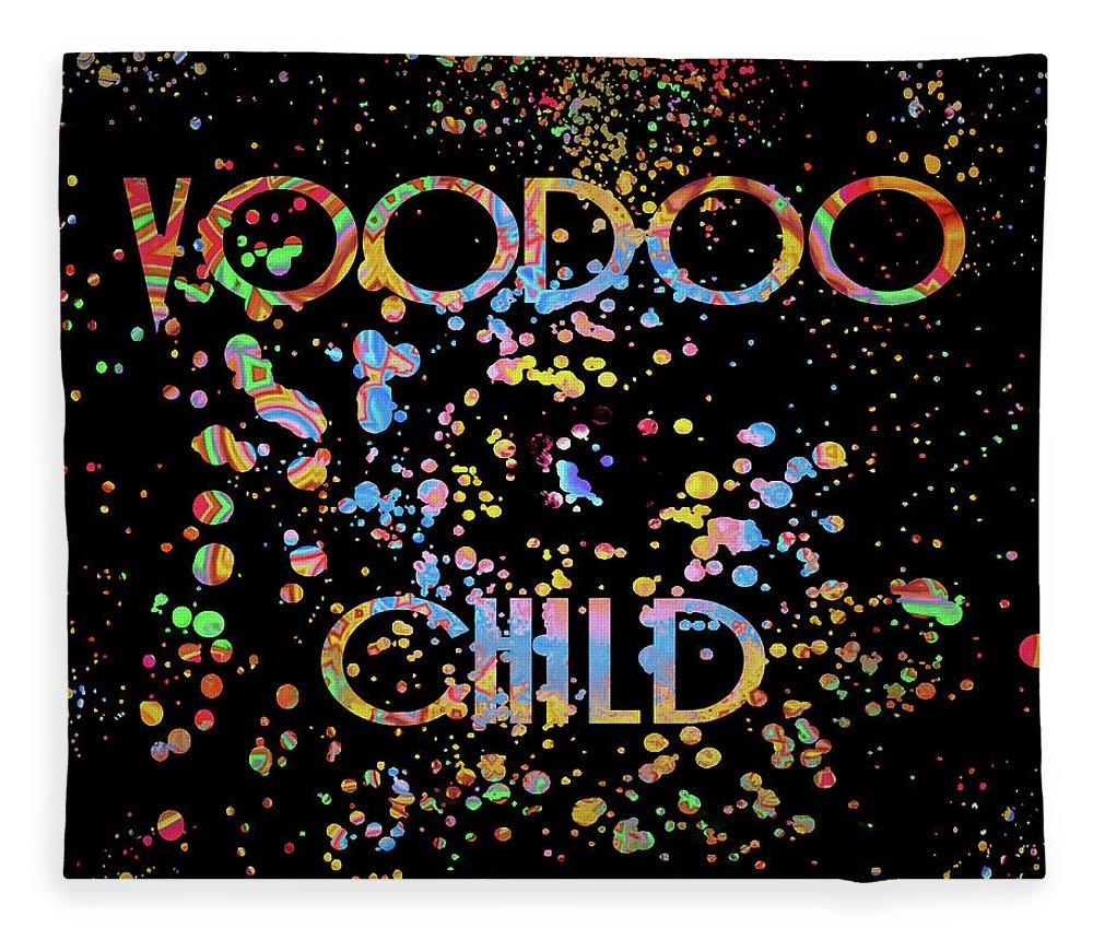 Voodoo Child Psychedelic Fleece Blanket featuring the mixed media Voodoo Child Psychedelic by Dan Sproul