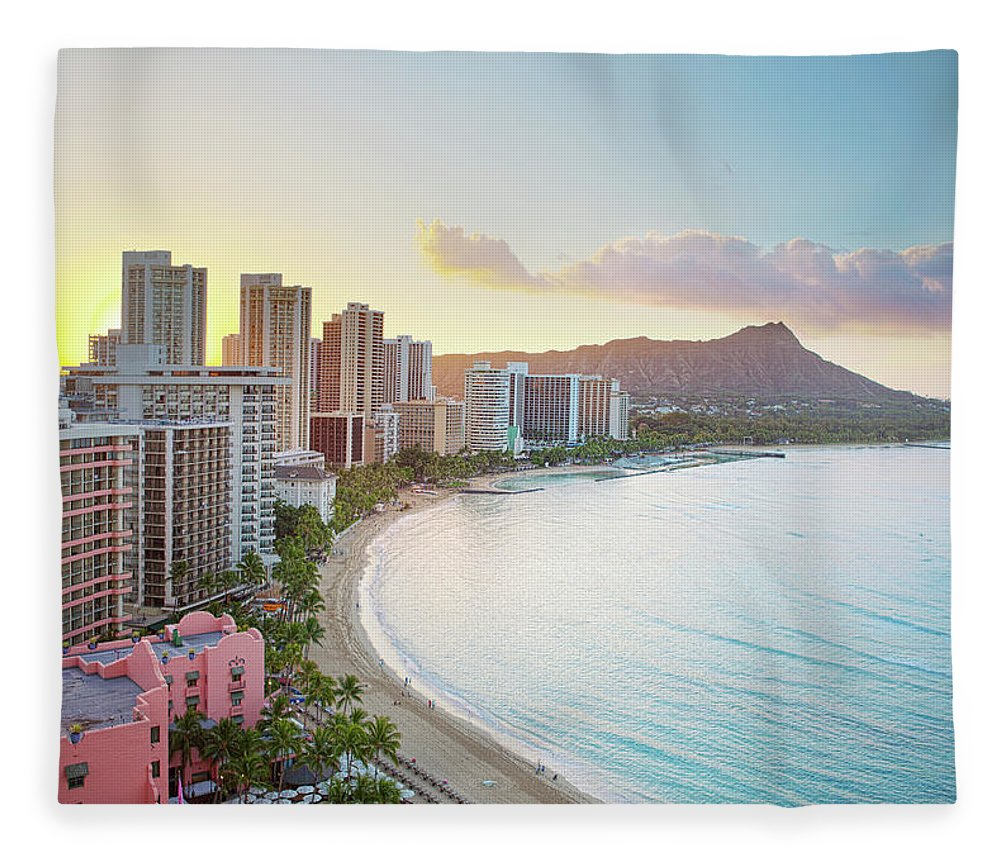 Scenics Fleece Blanket featuring the photograph Waikiki Beach At Sunrise by M Swiet Productions