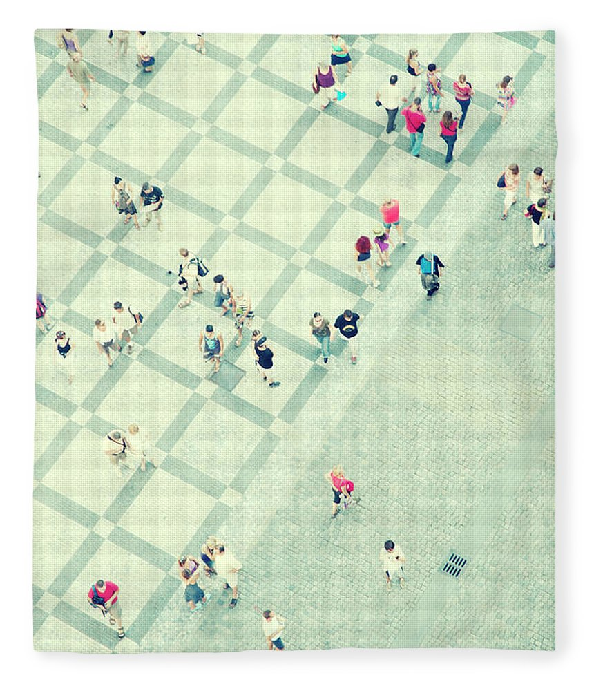 Pedestrian Fleece Blanket featuring the photograph Walking People by Carlo A