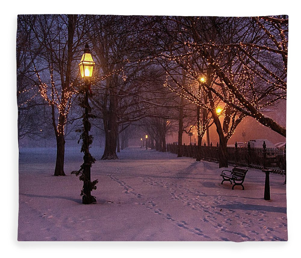 Salem Common Fleece Blanket featuring the digital art Walking The Path On Salem Ma Common by Jeff Folger