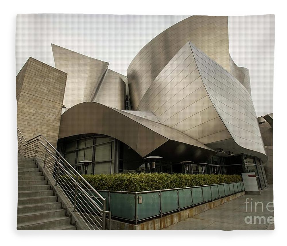 John Gehry Fleece Blanket featuring the photograph Walt Disney Concert Center by David Bearden