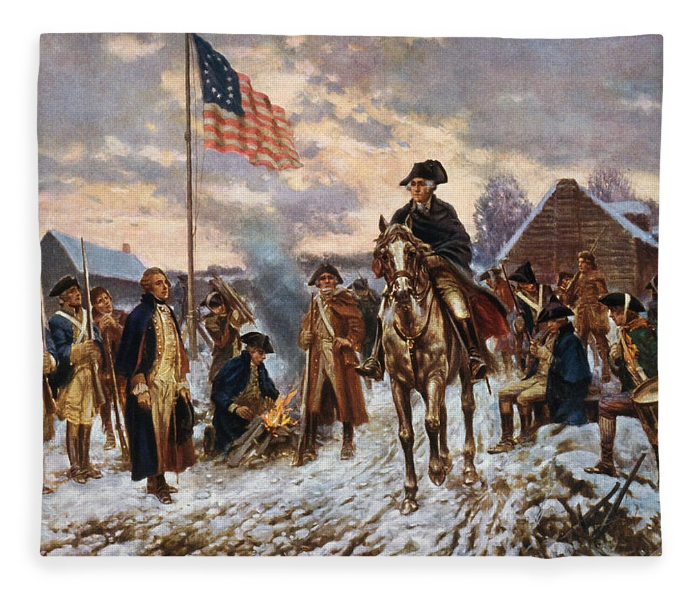 George Washington Fleece Blanket featuring the painting Washington at Valley Forge by War Is Hell Store