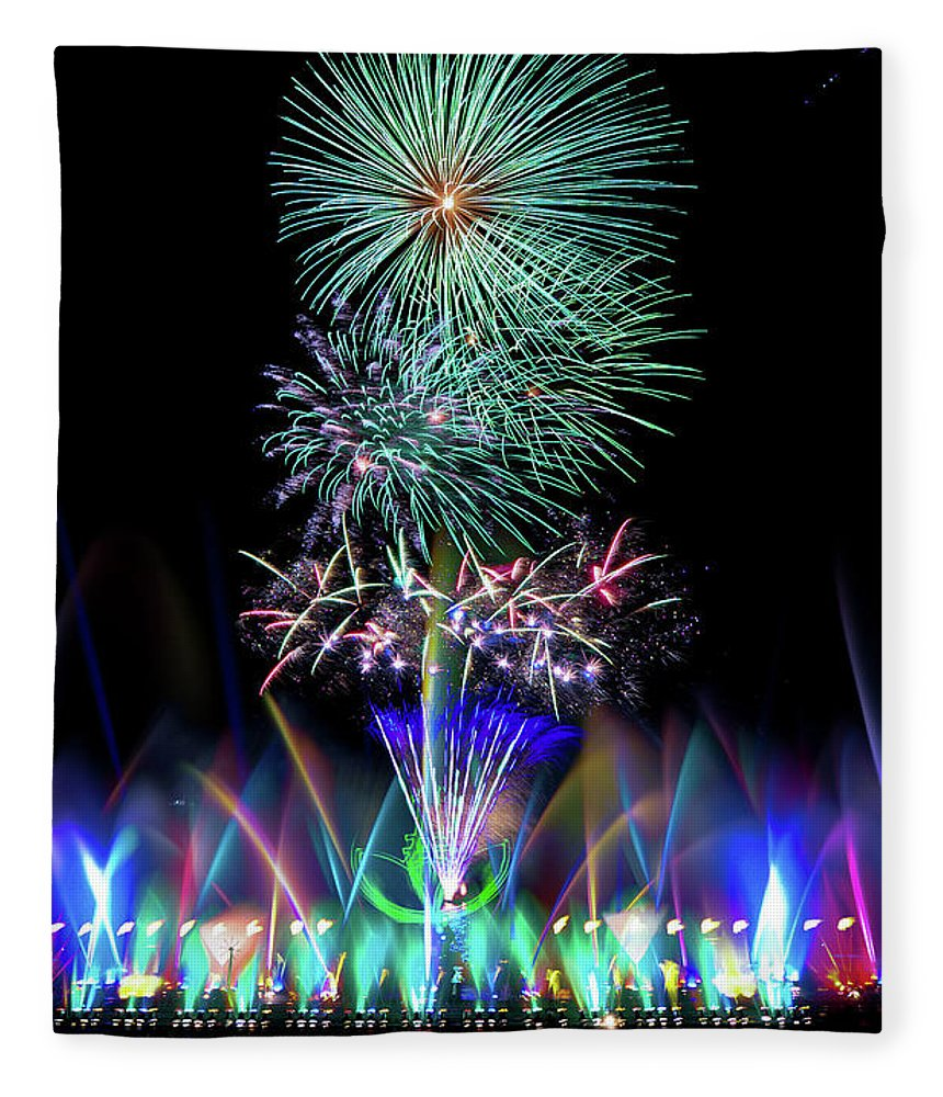 Firework Display Fleece Blanket featuring the photograph Water Dancing Festival by Taiwan Nans0410