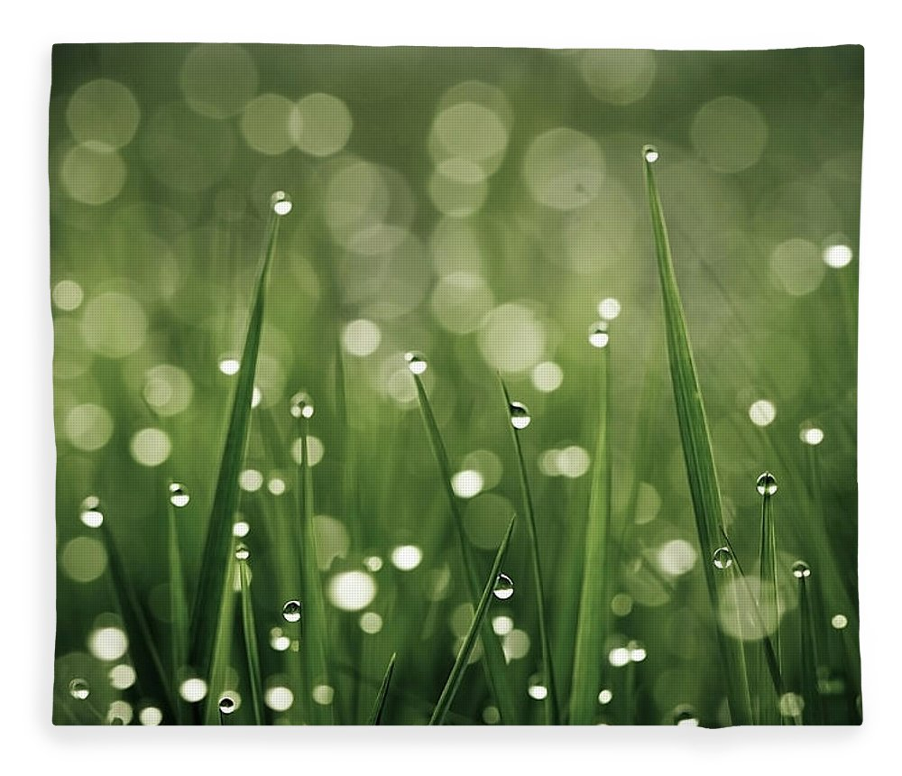 Grass Fleece Blanket featuring the photograph Water Drops On Grass by Florence Barreau