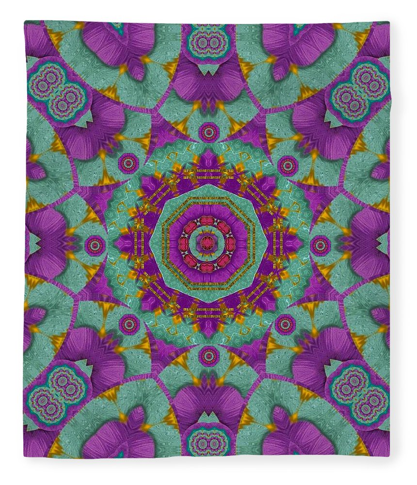 Blossom Fleece Blanket featuring the mixed media Water Garden Lotus Blossoms In Sacred Style by Pepita Selles