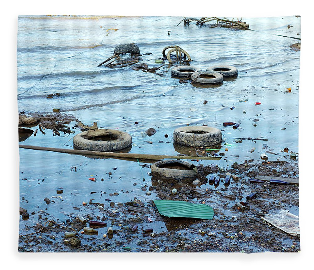 Water's Edge Fleece Blanket featuring the photograph Water Pollution by Drbouz