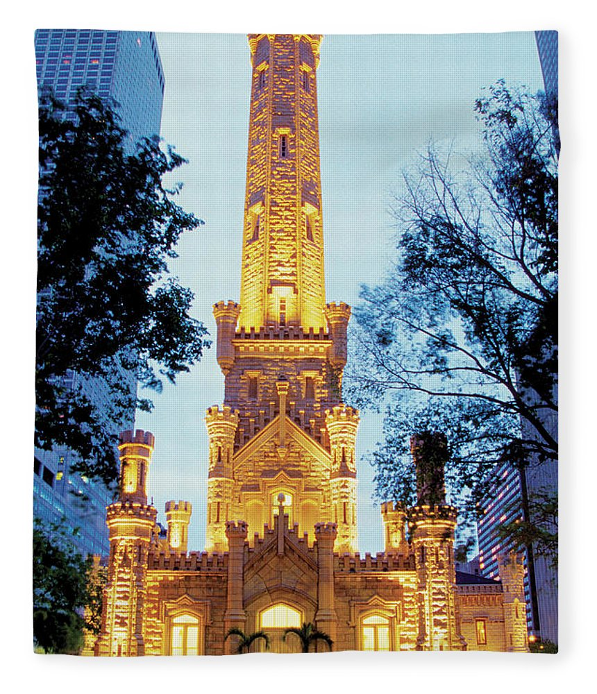 Travel16 Fleece Blanket featuring the photograph Water Tower At Night In Chicago by Medioimages/photodisc