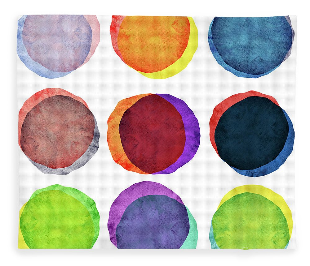 Watercolor Painting Fleece Blanket featuring the photograph Watercolor Painted Circles Various by Momentousphotovideo