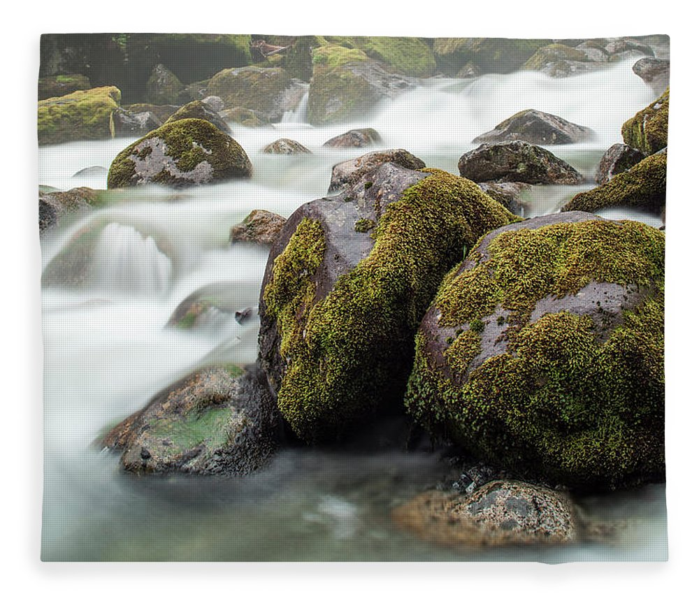 Tranquility Fleece Blanket featuring the photograph Waterfall, Bc, Canada by Paul Souders