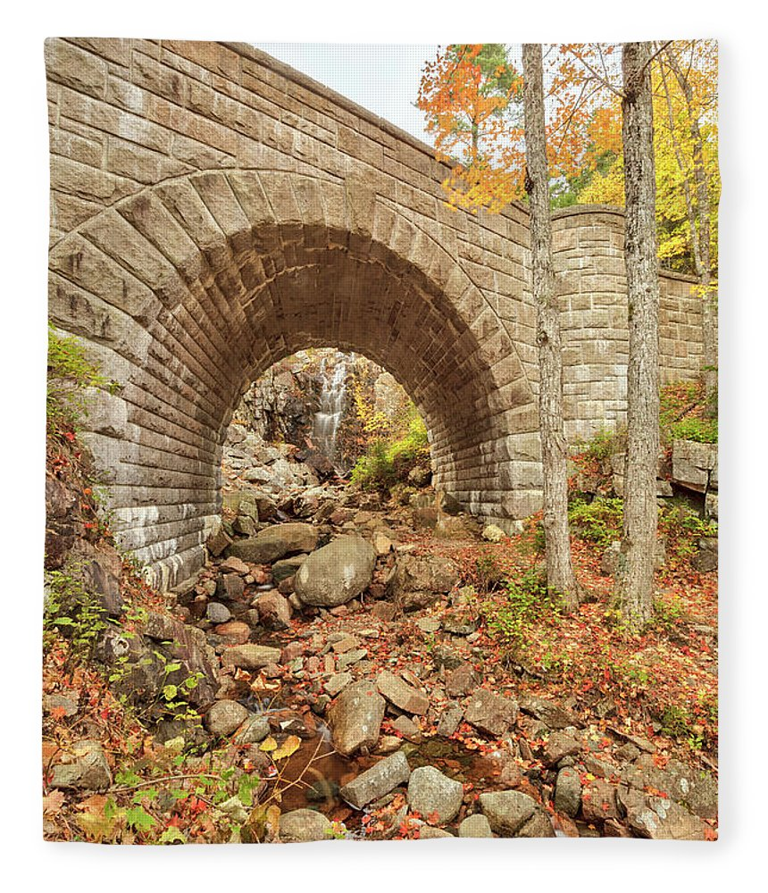 Scenics Fleece Blanket featuring the photograph Waterfall Bridge, Autumn, Acadia by Picturelake