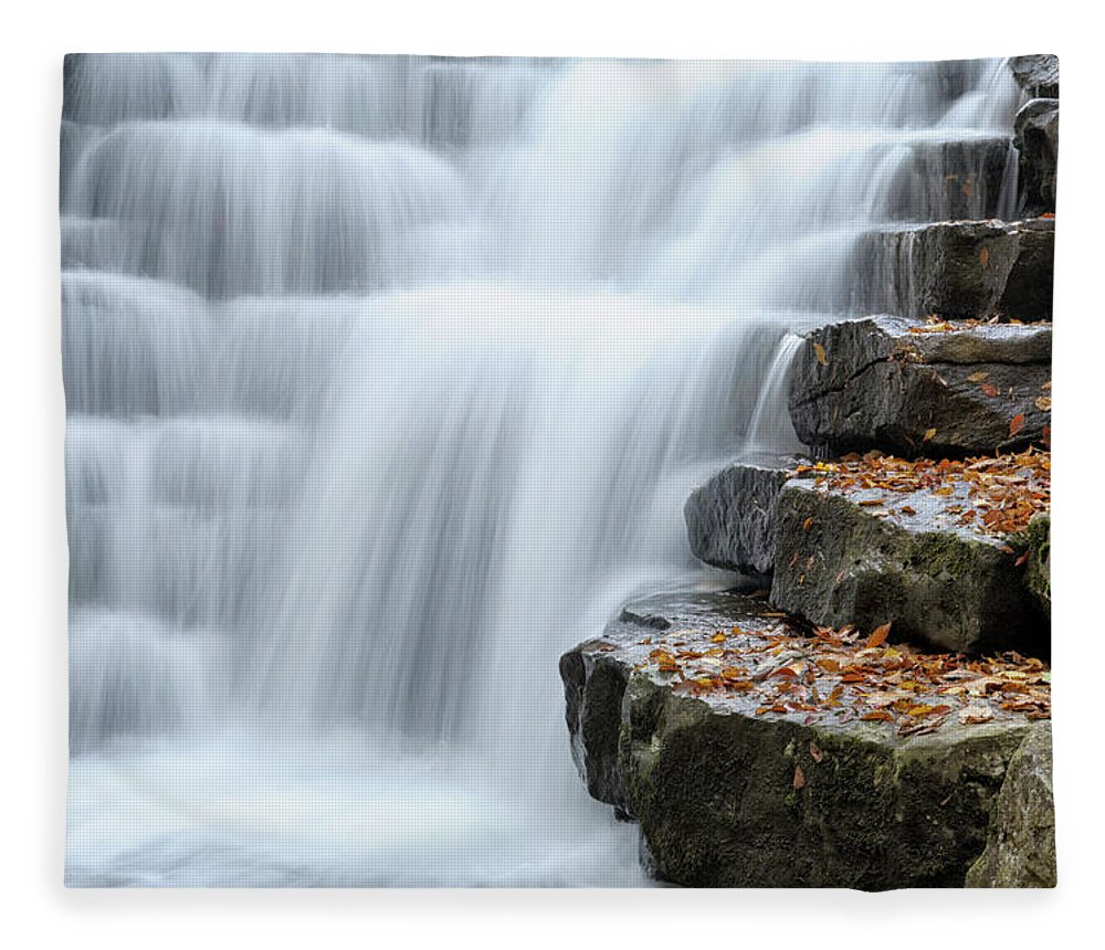 Steps Fleece Blanket featuring the photograph Waterfall Flowing Over Rock Stair by Catnap72