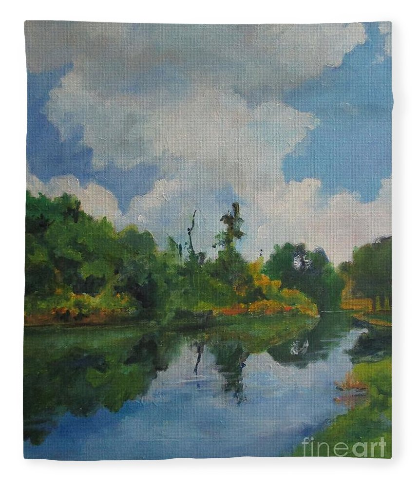 Barbara Moak Fleece Blanket featuring the painting Waterway At Millennium Garden by Barbara Moak