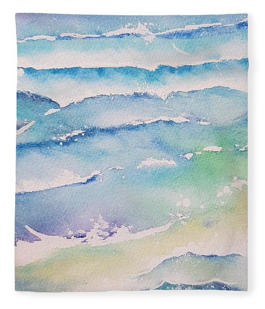 Watercolor Fleece Blanket featuring the painting Waves by Paola Baroni