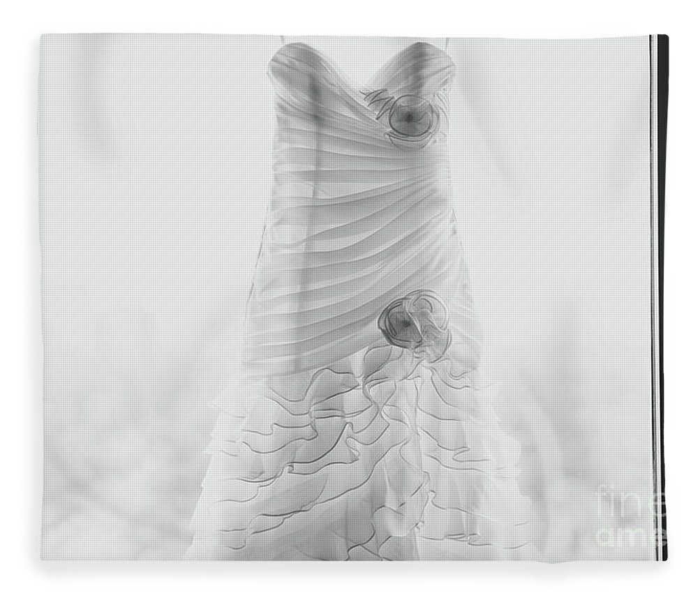 Hanging Fleece Blanket featuring the photograph Wedding Dress In Black Frame by Matt Corkum