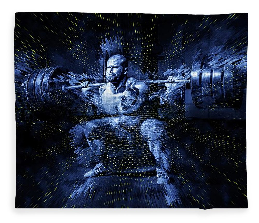 Weightlifting Fleece Blanket featuring the digital art Weight Lifting by ArtMarketJapan