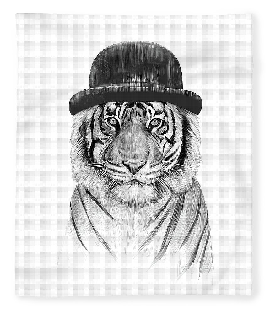 Tiger Fleece Blanket featuring the drawing Welcome To The Jungle by Balazs Solti