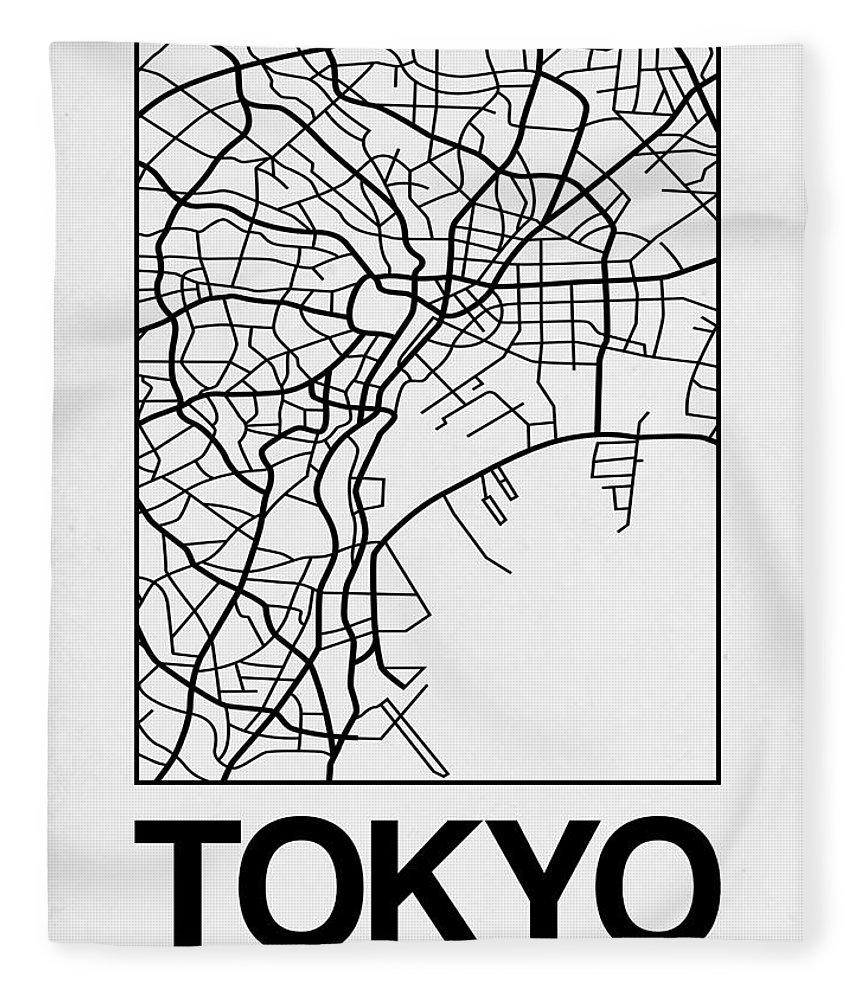 Tokyo Fleece Blanket featuring the digital art White Map Of Tokyo by Naxart Studio