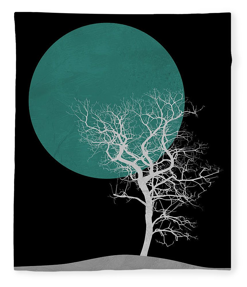 Tree Fleece Blanket featuring the mixed media White Tree And Big Moon by Naxart Studio