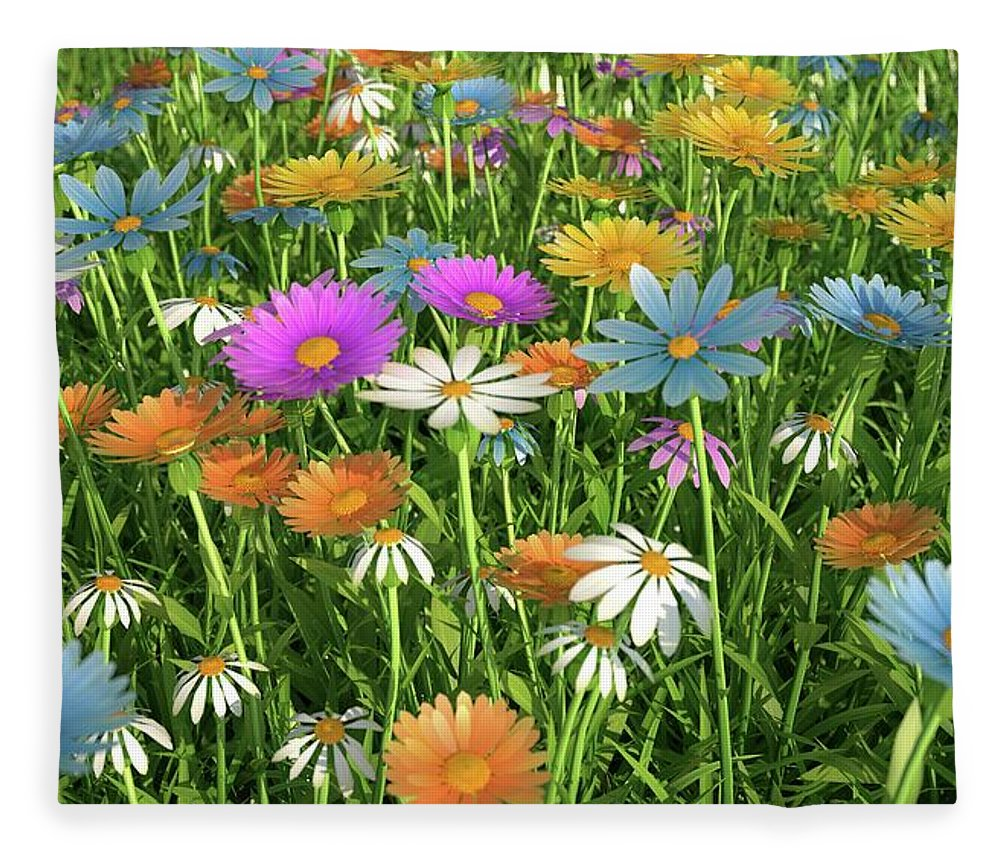 Grass Fleece Blanket featuring the digital art Wildflower Meadow, Artwork by Leonello Calvetti