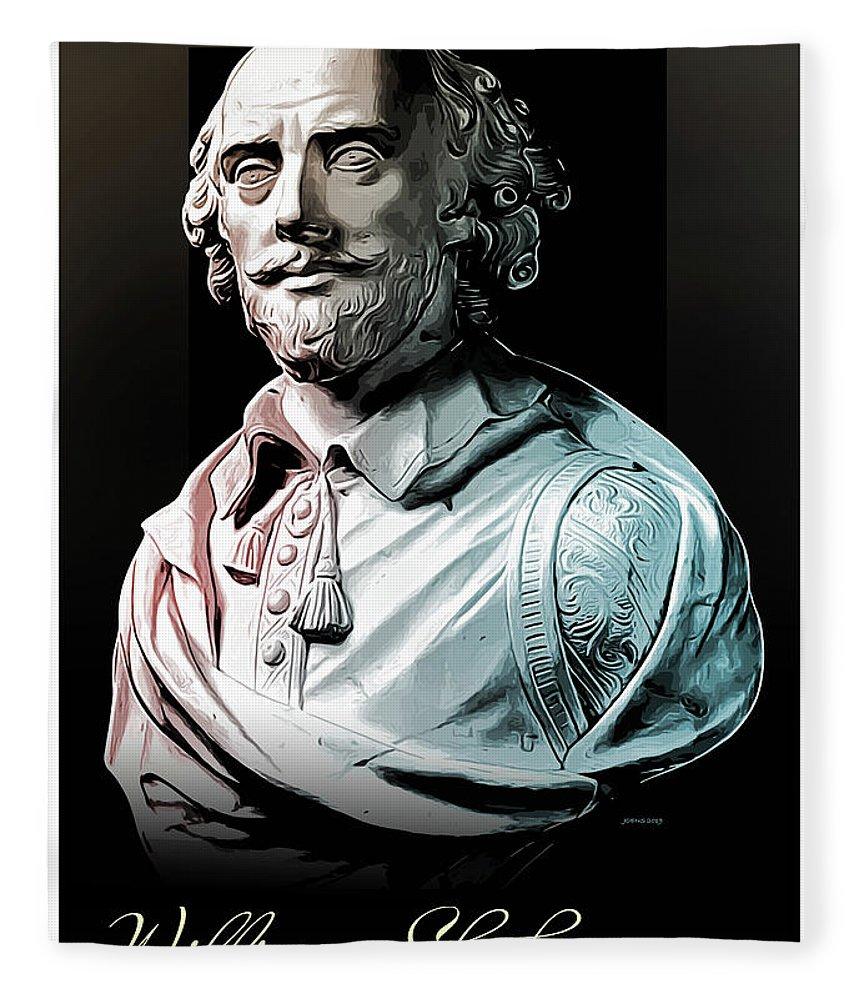 William Shakespeare Fleece Blanket featuring the digital art William Shakespeare by Greg Joens