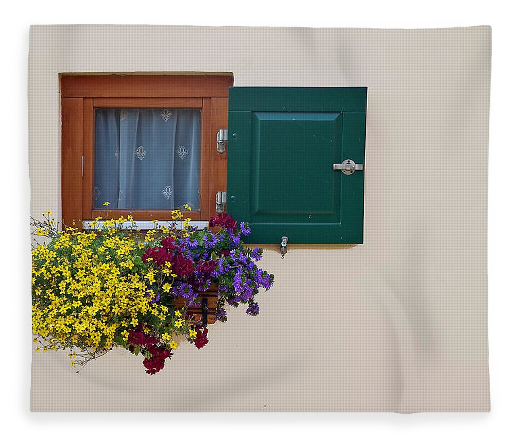 Outdoors Fleece Blanket featuring the photograph Window With Flowers by Enzo D.