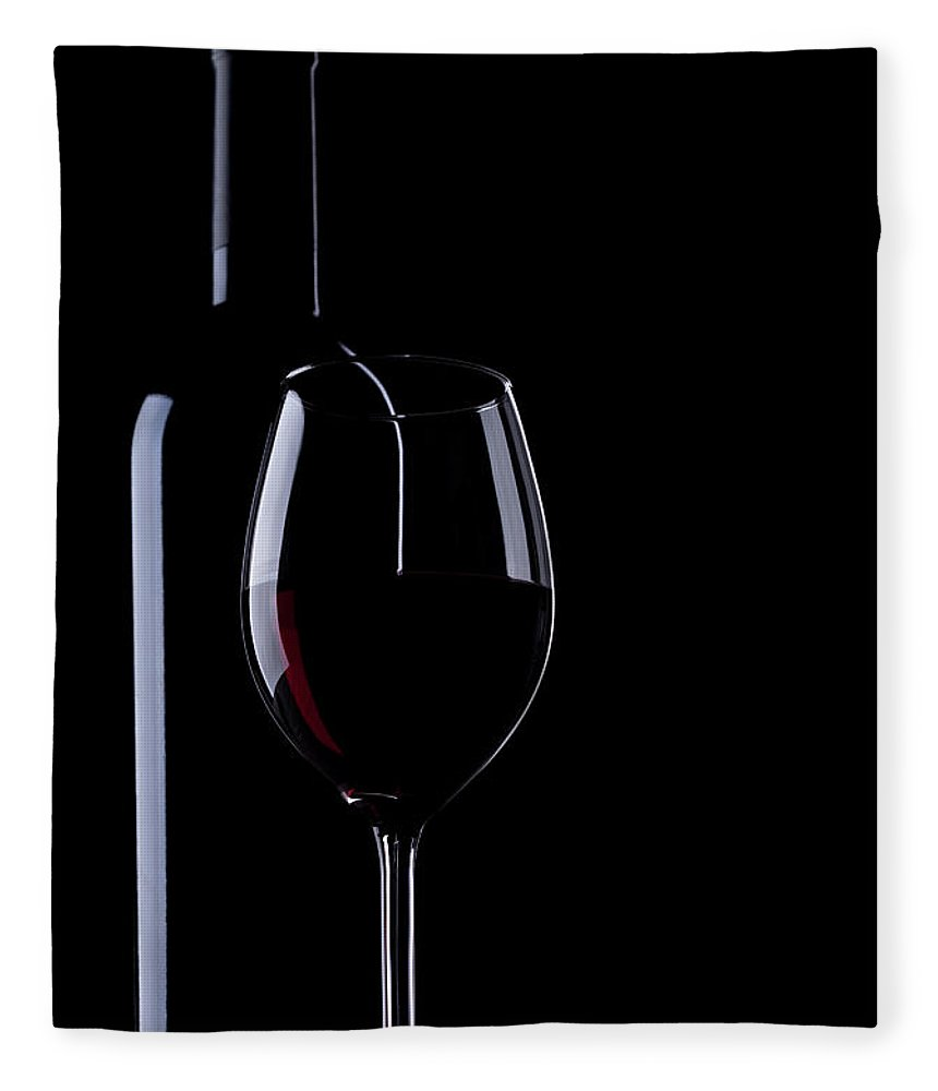 Curve Fleece Blanket featuring the photograph Wine Bottle And Glass by Portishead1
