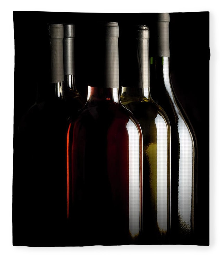 Rose Wine Fleece Blanket featuring the photograph Wine Bottles by Carlosalvarez