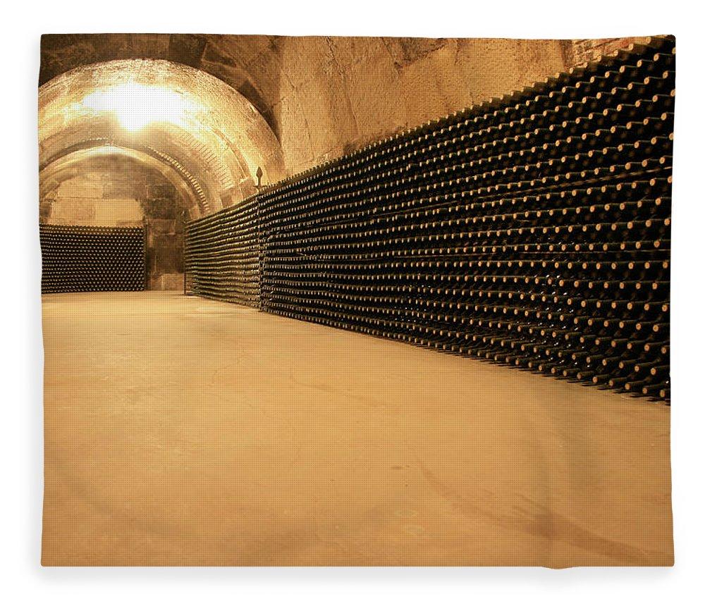 Arch Fleece Blanket featuring the photograph Wine Cellar by Manuelvelasco
