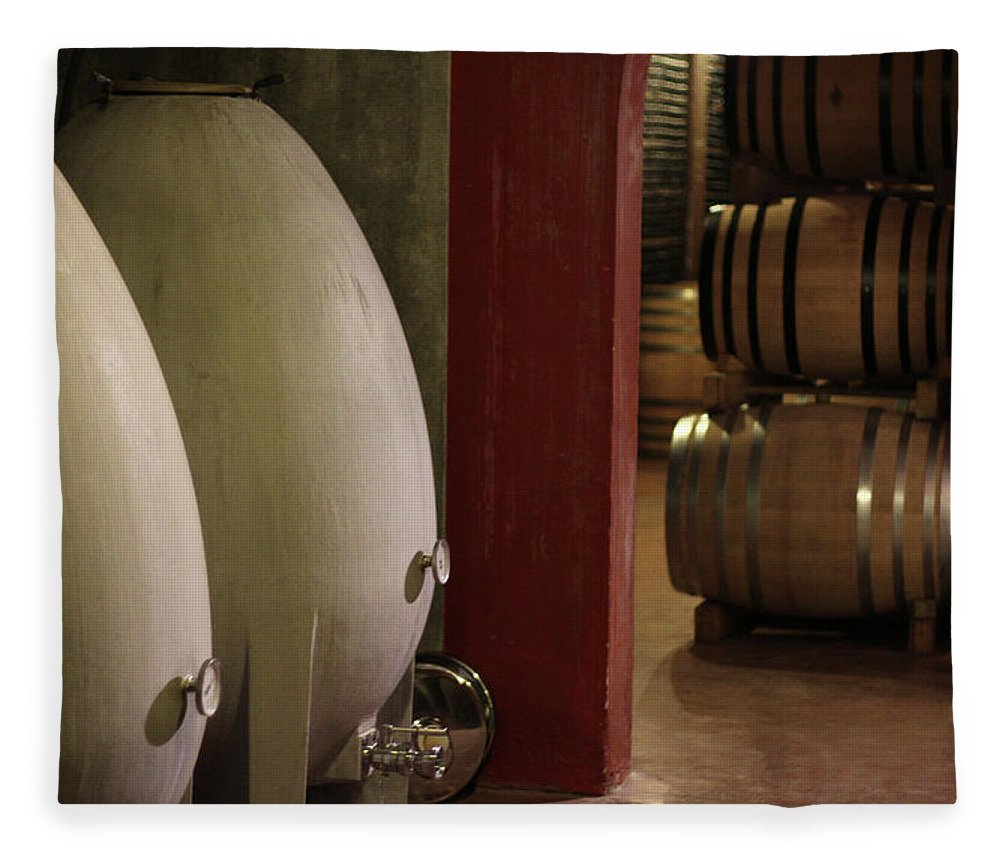 Aging Process Fleece Blanket featuring the photograph Wine Cellar by Tom And Steve