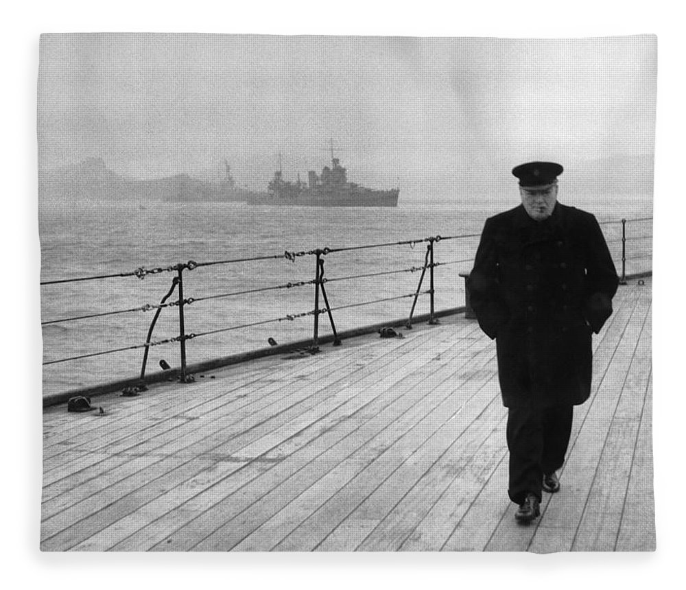 Winston Churchill Fleece Blanket featuring the photograph Winston Churchill At Sea by War Is Hell Store