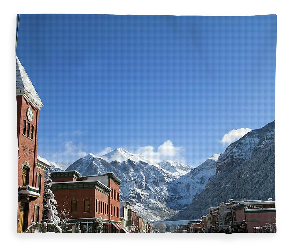 Scenics Fleece Blanket featuring the photograph Winter Telluride Colorado by Dougberry