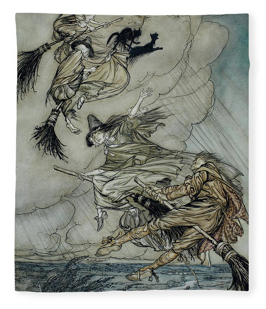 Arthur Rackham Fleece Blanket featuring the painting Witches, 1907 by Arthur Rackham