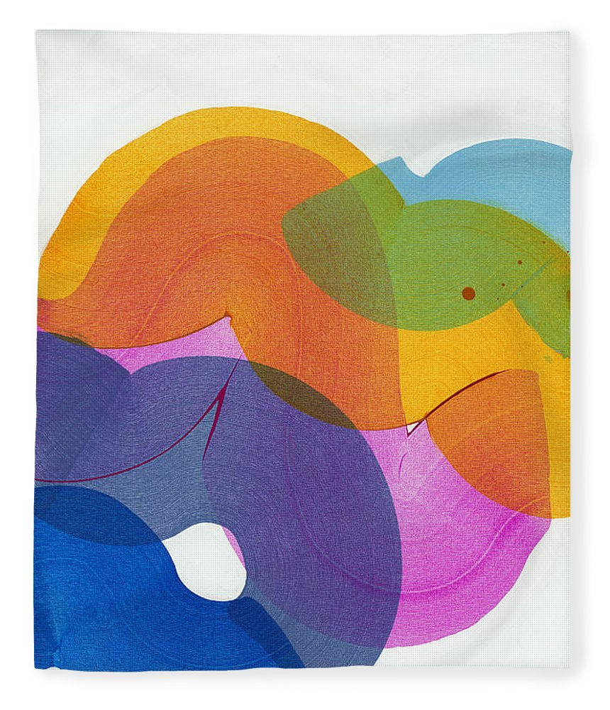 Abstract Fleece Blanket featuring the painting With Love by Claire Desjardins