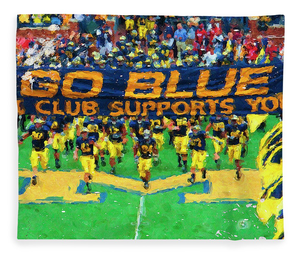University Of Michigan Fleece Blanket featuring the painting Wolverines Rebirth by John Farr