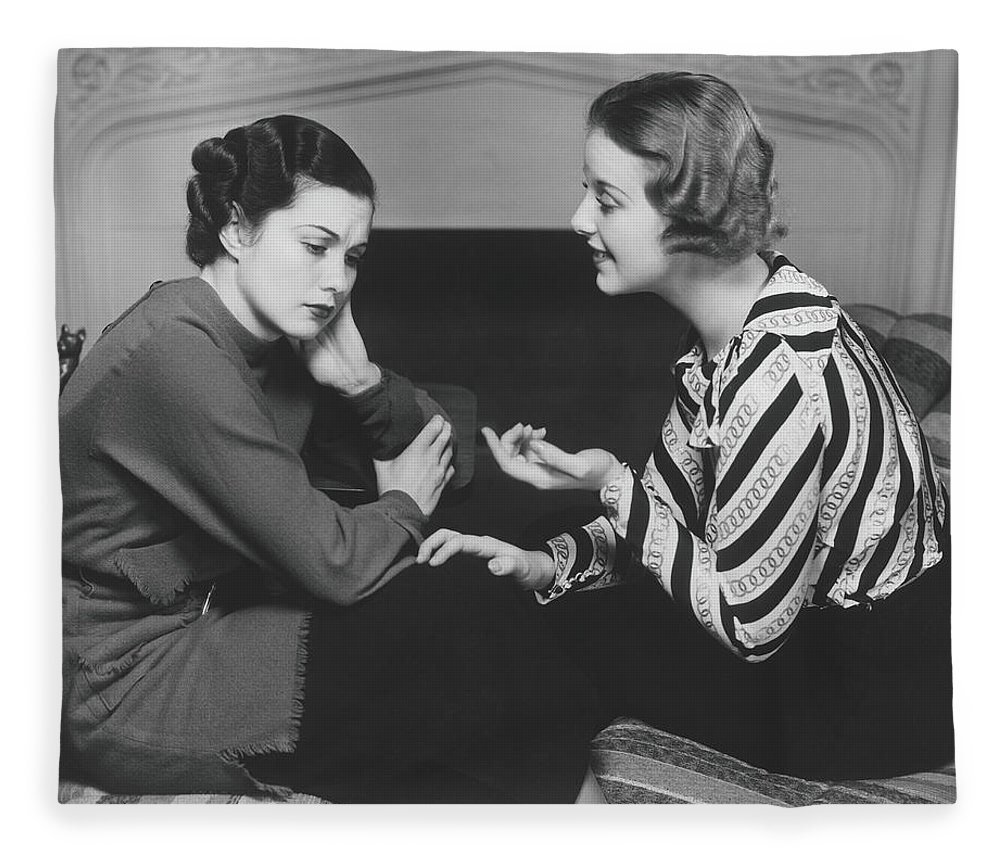 Problems Fleece Blanket featuring the photograph Woman Consoling Friend At Fireplace, B&w by George Marks