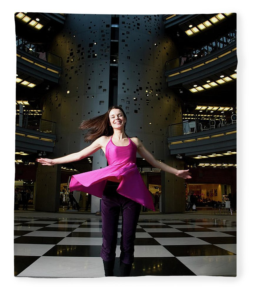 People Fleece Blanket featuring the photograph Woman Dancing In Old Brewery Shopping by Tim E White