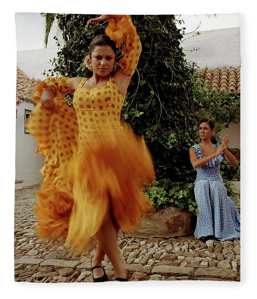 Blurred Motion Fleece Blanket featuring the photograph Woman Flamenco Dancer, Outdoors by Tim Macpherson