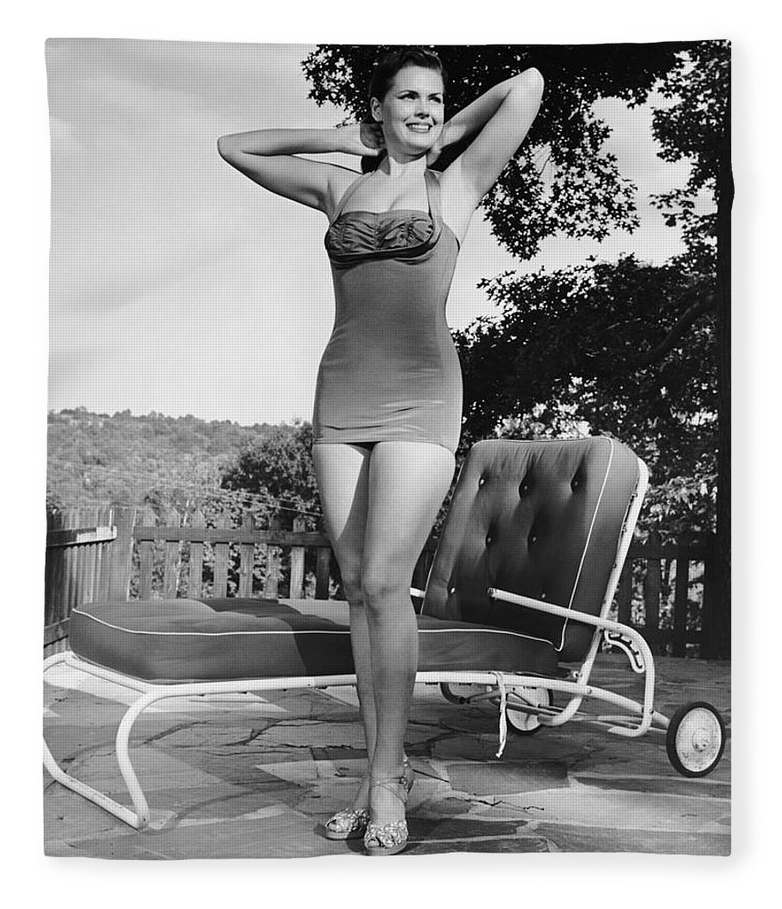 People Fleece Blanket featuring the photograph Woman In Bathing Suit Outdoors by George Marks