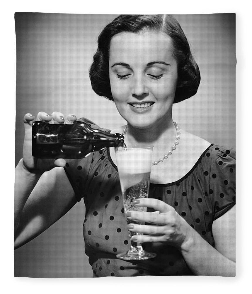 People Fleece Blanket featuring the photograph Woman Pouring Alcoholic Beverage by George Marks