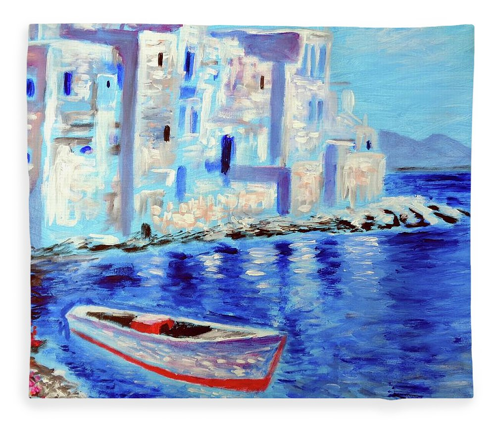 Mykonos Fleece Blanket featuring the painting Wondrous Mykonos by Larry Cirigliano