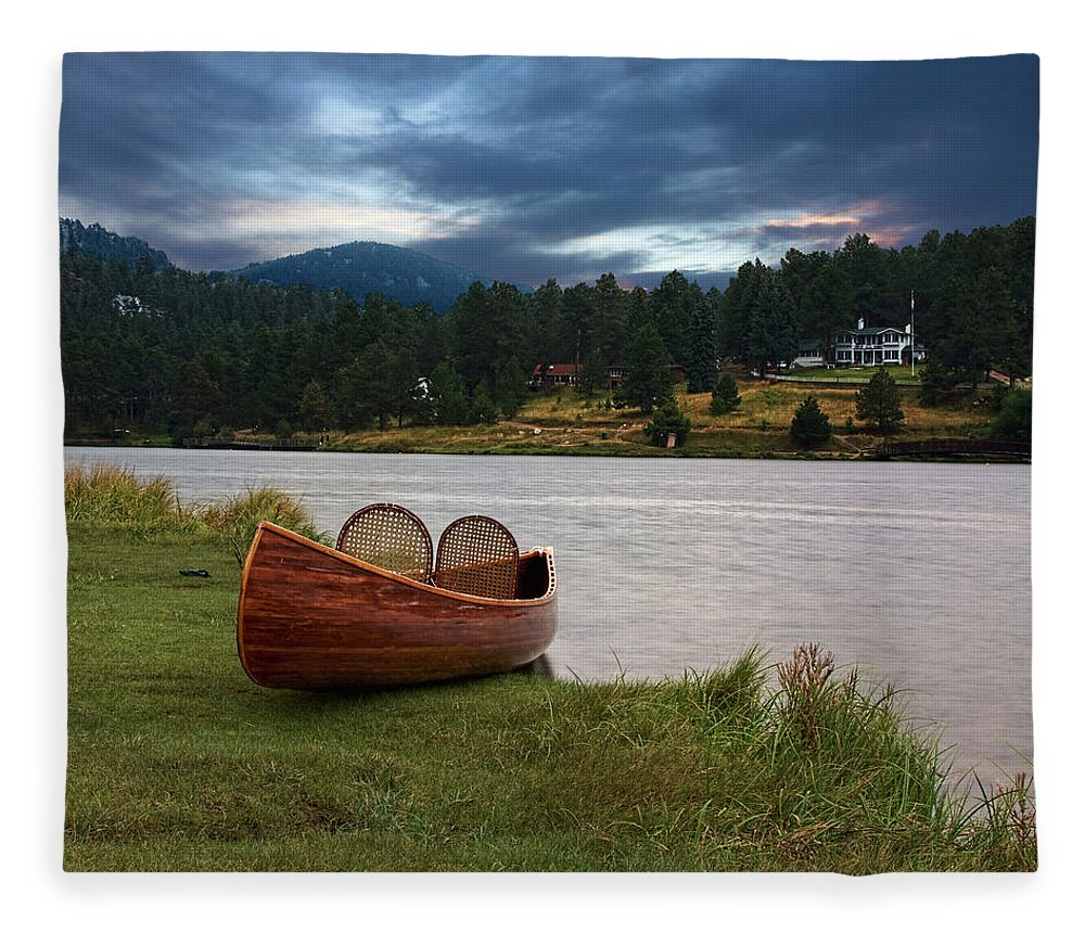 Tranquility Fleece Blanket featuring the photograph Wood Canoe by Brad Mcginley Photography