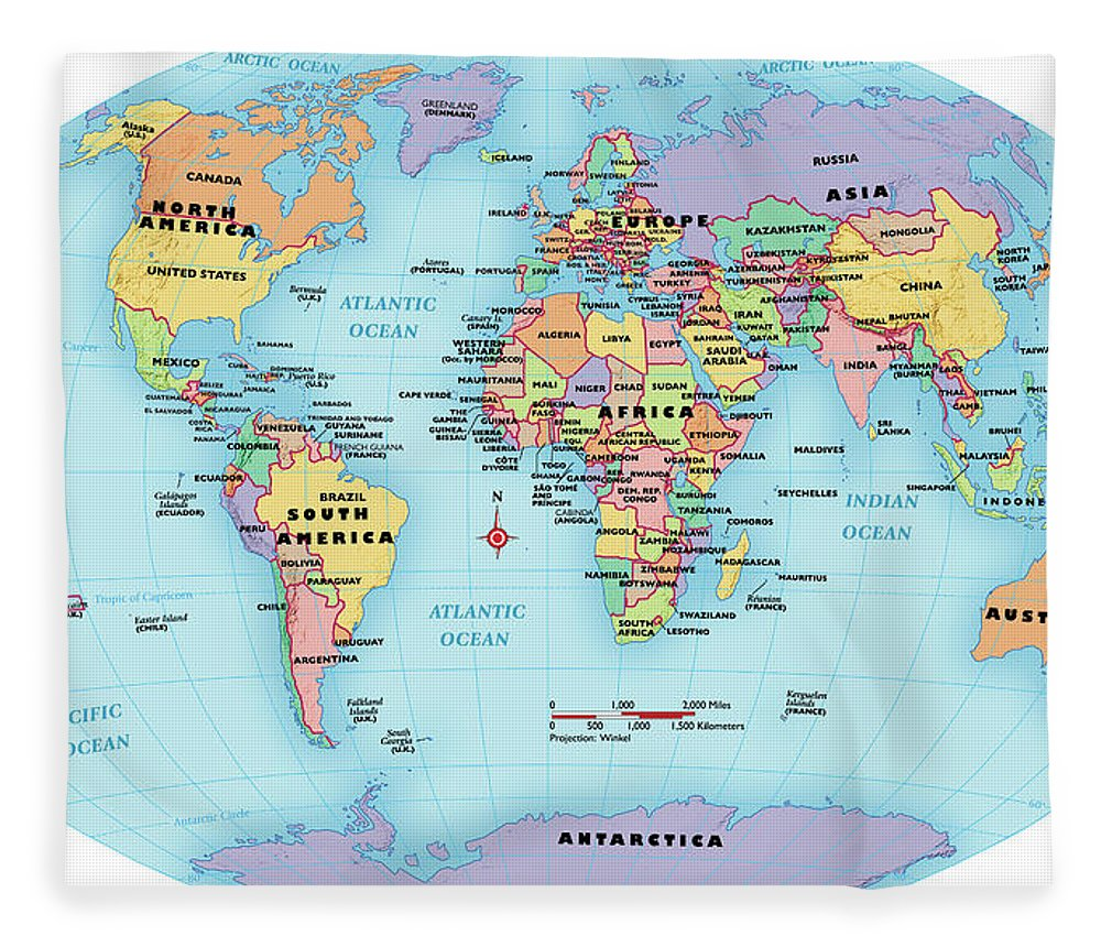 Horizontal Fleece Blanket featuring the digital art World Map, Continent And Country Labels by Globe Turner, Llc